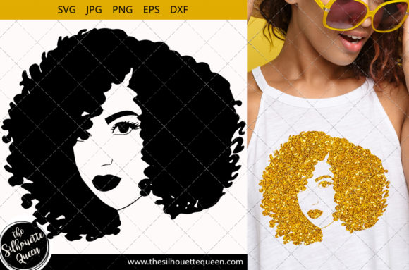 Afro Woman with Short Curly Kinky Graphic Crafts By thesilhouettequeenshop