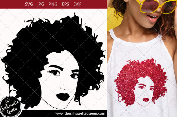 Download Free Afro Woman With Short Natural Curls Graphic By for Cricut Explore, Silhouette and other cutting machines.