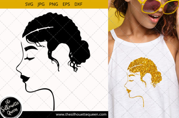 Afro Woman with Side Swept Curly Graphic Crafts By thesilhouettequeenshop
