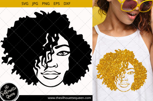 Afro Woman with Side Swept Short Hair Graphic Crafts By thesilhouettequeenshop