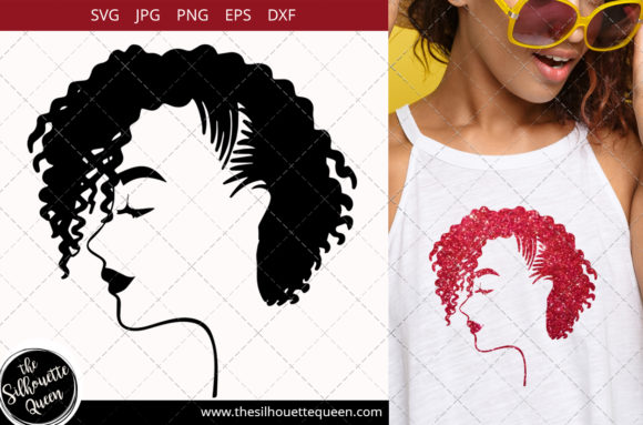 Afro Woman with Side-swept Curly Pix Graphic Crafts By thesilhouettequeenshop