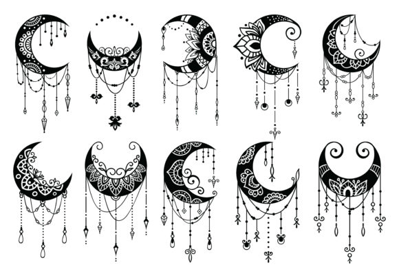 Crescent Moon Decoration Collection Graphic Illustrations By AllmoStudio