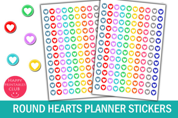 Print on Demand: Cute Round Hearts Planner Stickers Graphic Crafts By Happy Printables Club - Image 1