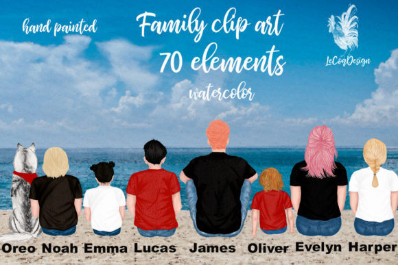 Family Cliart, People Sitting, Siblings Graphic Illustrations By LeCoqDesign - Image 1