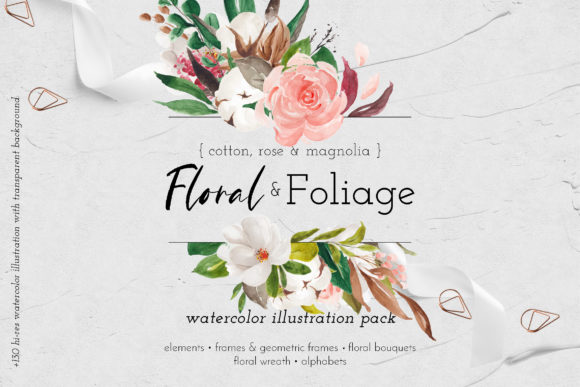 Print on Demand: Floral & Foliage Illustration Pack Graphic Illustrations By Blue Robin Design Shop - Image 1
