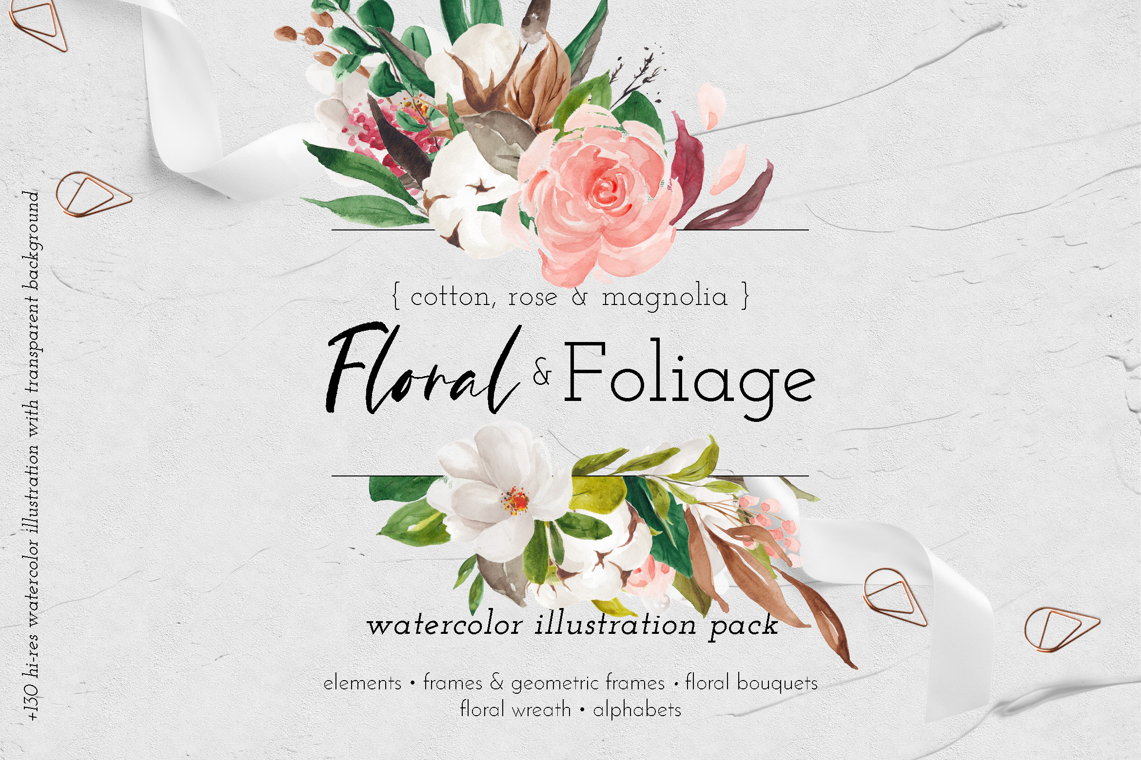 Download Free Floral Foliage Illustration Pack Graphic By Blue Robin Design for Cricut Explore, Silhouette and other cutting machines.