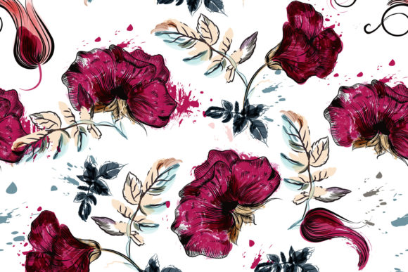 Floral Vector Pattern with Drawn Flowers Graphic Patterns By fleurartmariia