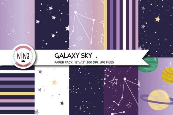 Galaxy Sky Digital Paper, Cosmic Pattern Graphic Patterns By Nina Prints