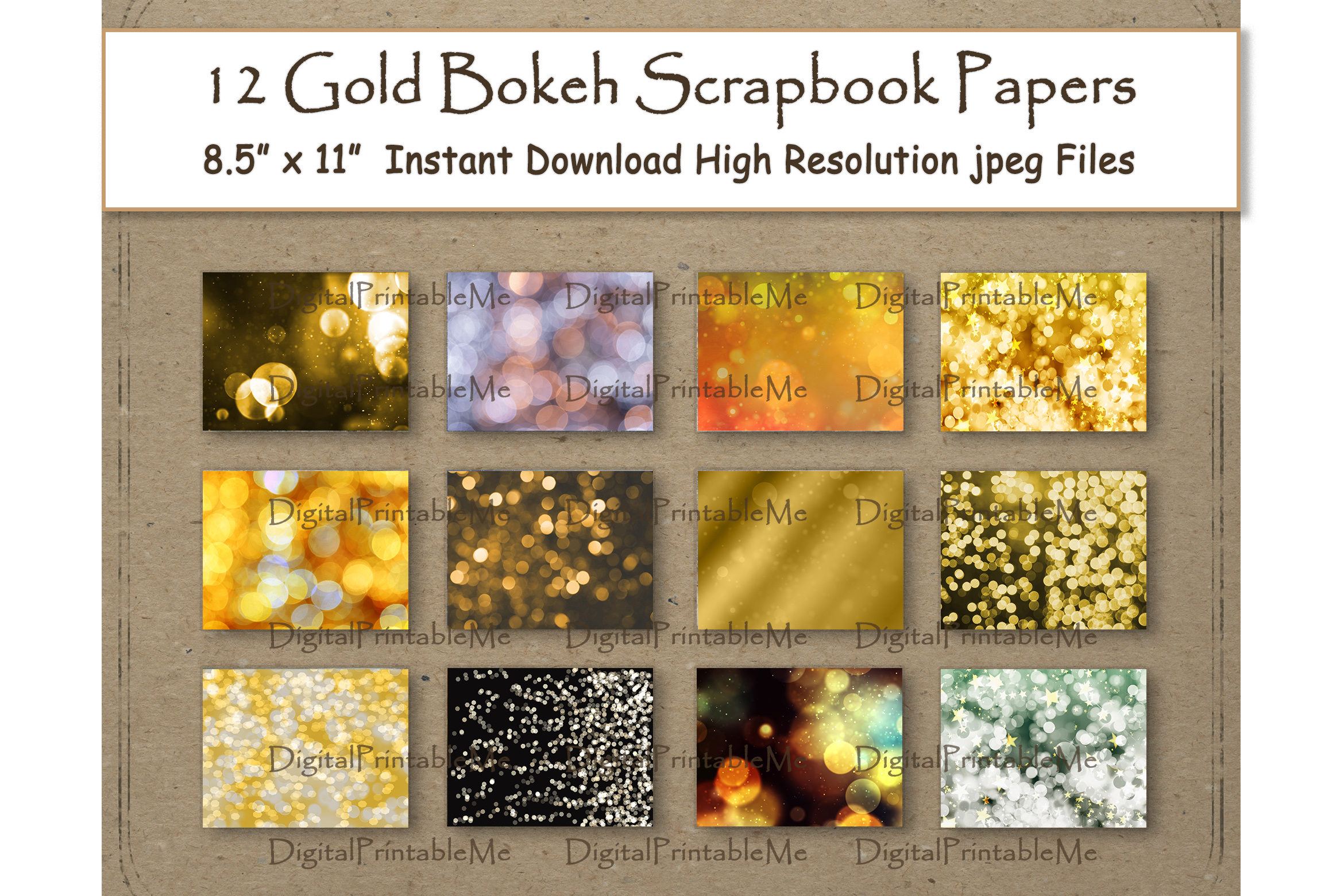 Download Free Gold Bokeh Digital Paper 8 5 Graphic By Digitalprintableme for Cricut Explore, Silhouette and other cutting machines.