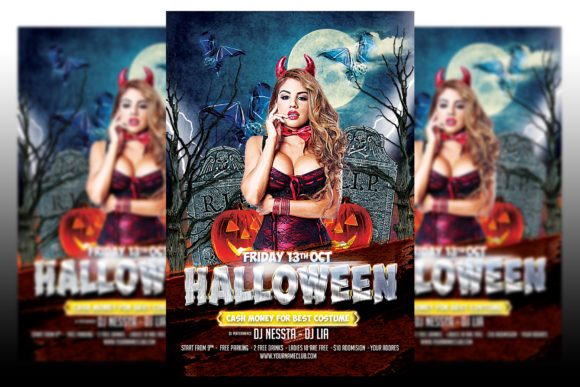 Print on Demand: Halloween Party Flyer #2 Graphic Print Templates By Matthew Design