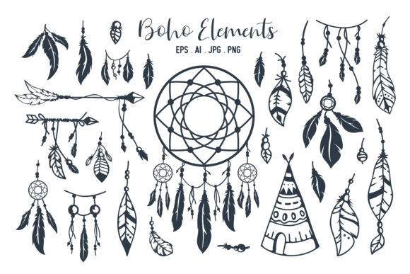 Hand Drawn Boho Style Element Collection Graphic Illustrations By AllmoStudio