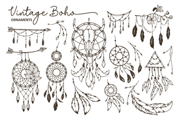 Hand Drawn Boho Style Element Collection Gráfico Ilustraciones Por AllmoStudio