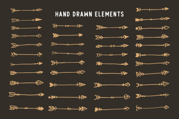 Hand Drawn Ethnic Arrows Boho Style Graphic Crafts By AllmoStudio