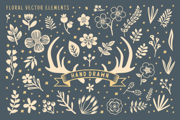 Hand Drawn Floral Vector Element Gráfico Ilustraciones Por AllmoStudio