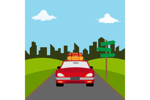 Print on Demand: Holiday Trip by Car Flat Design Graphic Illustrations By sabavector
