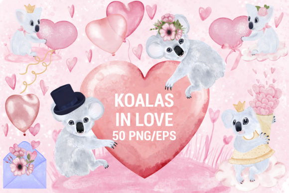 Print on Demand: Verliebte Koalas Dekoration Paket Grafik Illustrationen von PawStudio