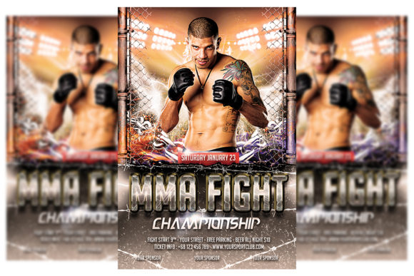 Print on Demand: MMA Fighting Flyer Template Graphic Print Templates By Matthew Design