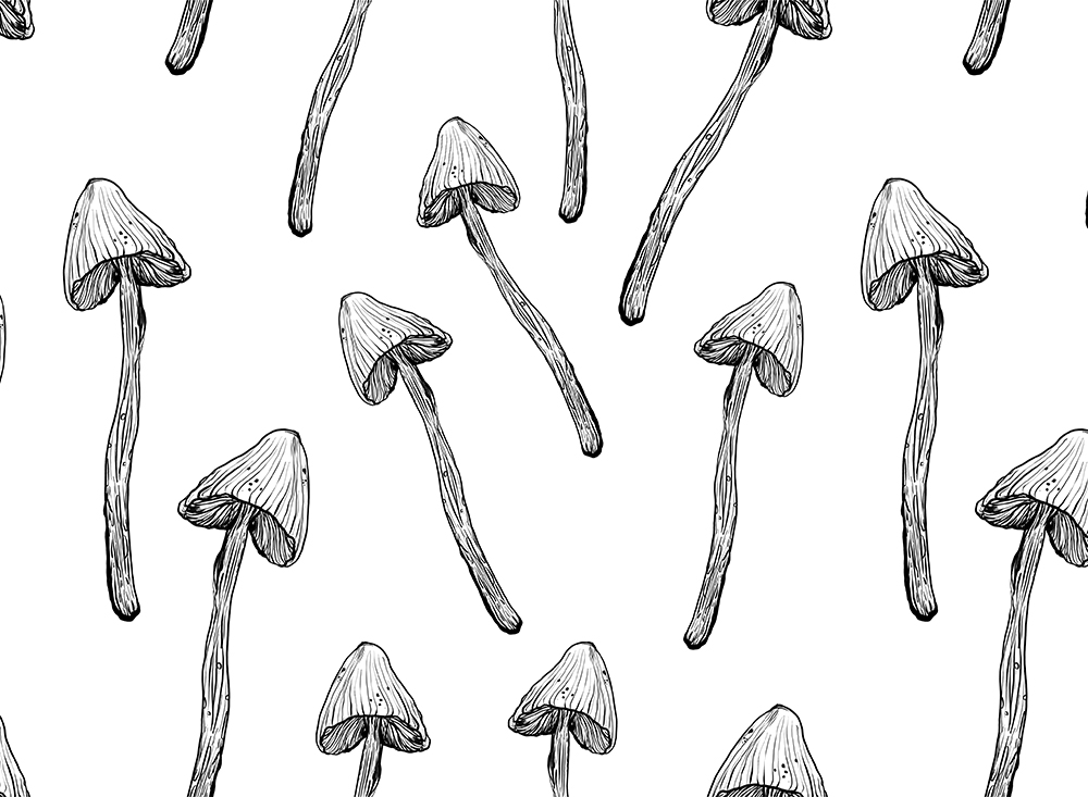 Download Free Magic Ink Mushrooms Seamless Pattern Graphic By Kaleriiatv for Cricut Explore, Silhouette and other cutting machines.