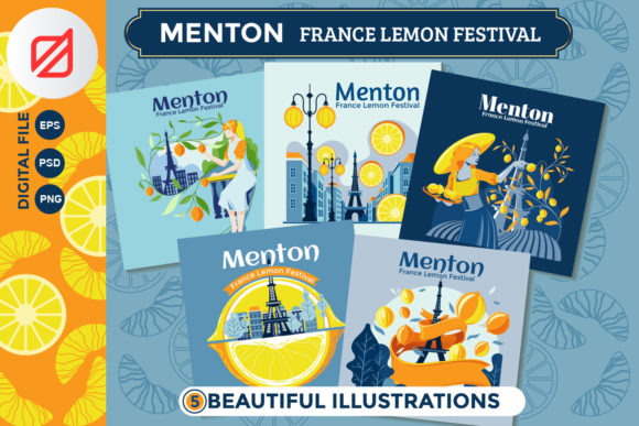 Print on Demand: Menton France Lemon Fest Illustration Graphic Print Templates By illusatrian - Image 1