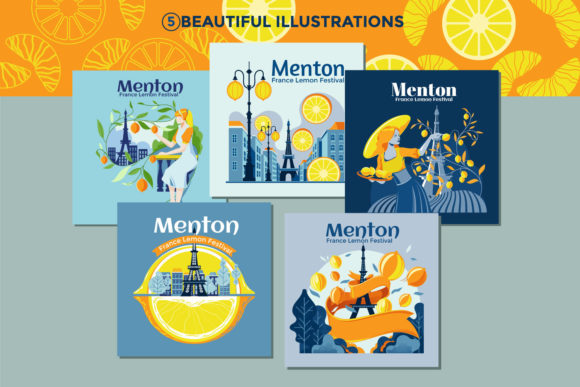 Print on Demand: Menton France Lemon Fest Illustration Graphic Print Templates By illusatrian - Image 2