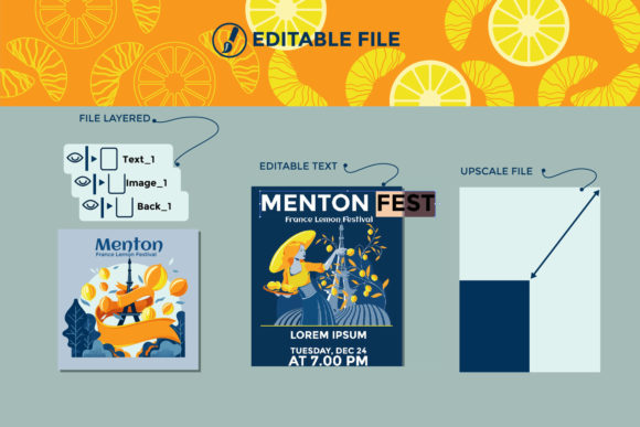 Print on Demand: Menton France Lemon Fest Illustration Graphic Print Templates By illusatrian - Image 3