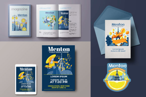 Print on Demand: Menton France Lemon Fest Illustration Graphic Print Templates By illusatrian - Image 4