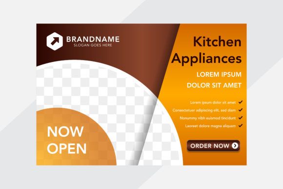 Print on Demand: Orange Gold Horizontal Banner Kitchen Graphic Graphic Templates By noory.shopper