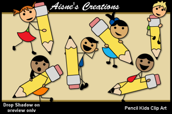 Download Free Pencil Kids Clip Art Graphic By Aisne Creative Fabrica for Cricut Explore, Silhouette and other cutting machines.