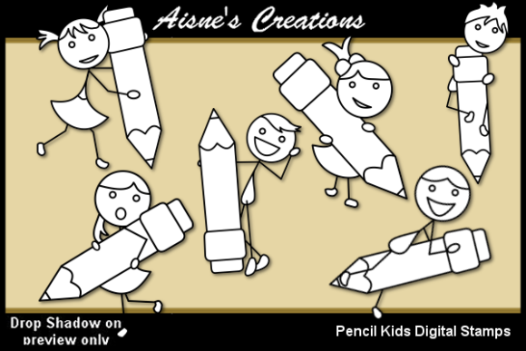Print on Demand: Pencil Kids Digital Stamp Graphic Illustrations By Aisne