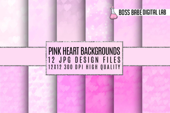 Print on Demand: Pink Hearts Digital Paper Graphic Patterns By bossbabedigitallab