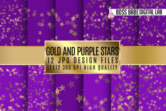 Print on Demand: Purple and Gold Stars Digital Paper Graphic Patterns By bossbabedigitallab