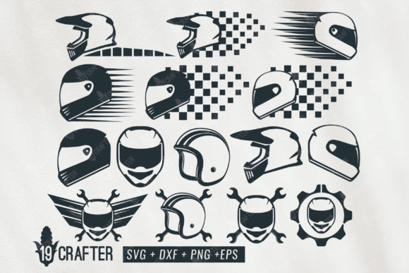 Download Free Racing Helmet Bundle Graphic By Great19 Creative Fabrica SVG Cut Files