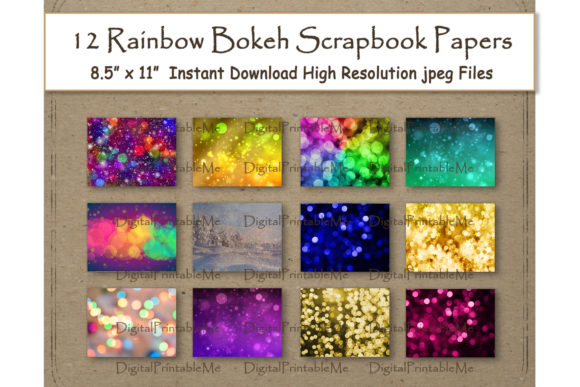 Download Free Rainbow Bokeh Digital Scrapbook Paper Graphic By for Cricut Explore, Silhouette and other cutting machines.