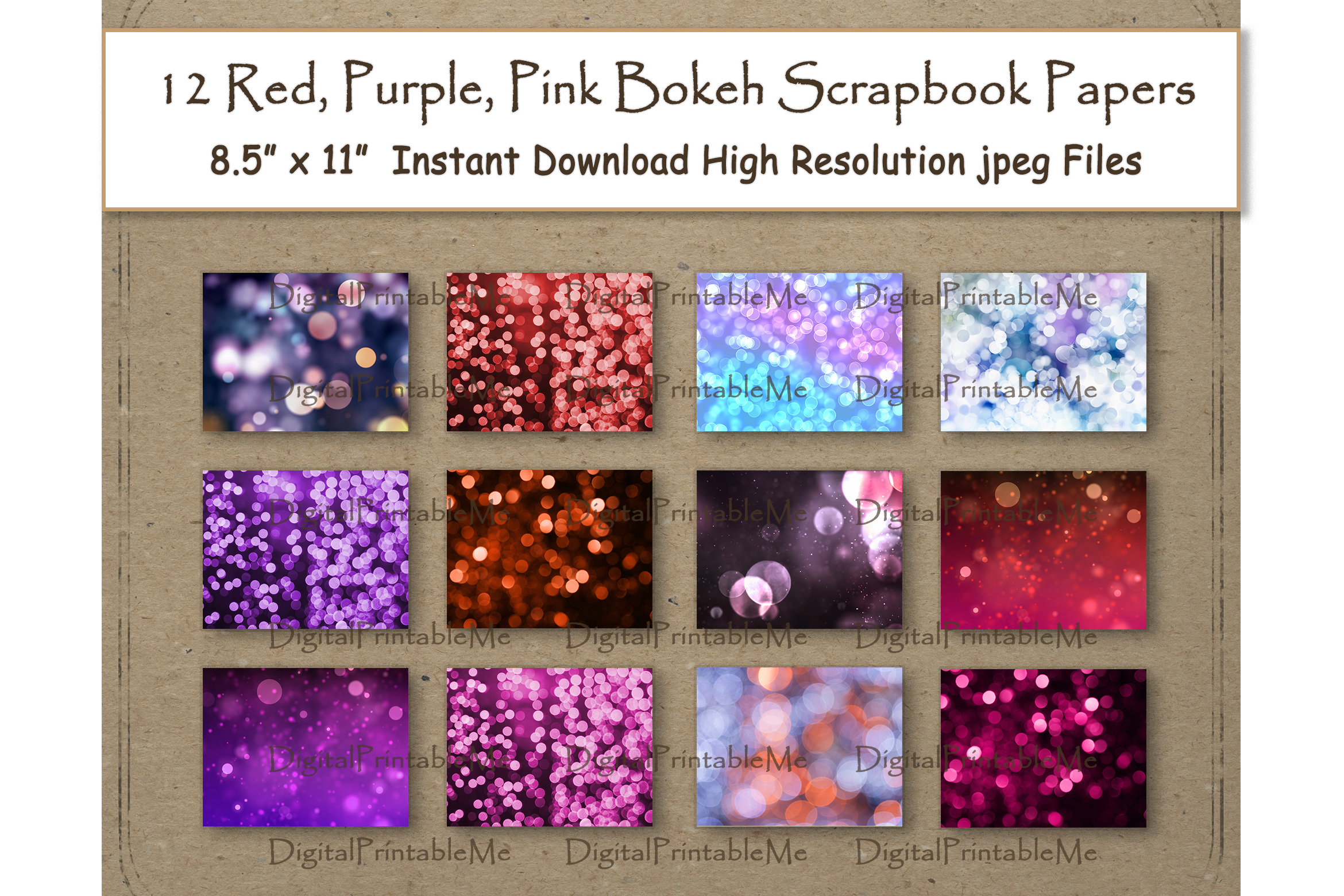 Download Free Red Bokeh Digital Paper Purple Pink Graphic By for Cricut Explore, Silhouette and other cutting machines.