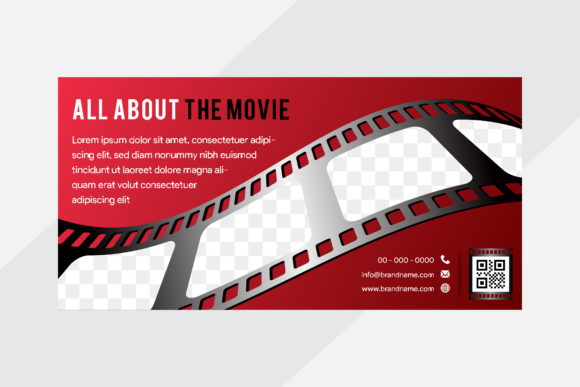 Print on Demand: Red Gradient Flim Strip Horizontal Banne Graphic Graphic Templates By noory.shopper