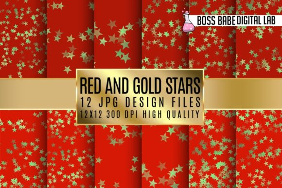 Print on Demand: Red and Gold Stars Digital Paper Graphic Patterns By bossbabedigitallab