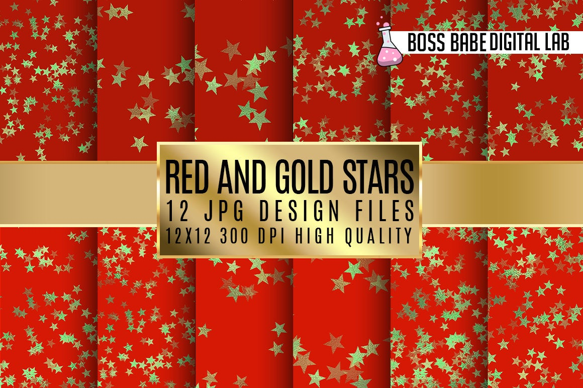 Download Free Red And Gold Stars Digital Paper Graphic By Bossbabedigitallab for Cricut Explore, Silhouette and other cutting machines.
