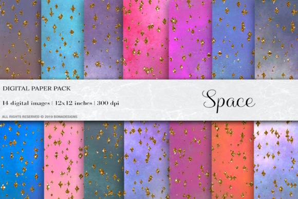 Space Digital Paper Graphic Backgrounds By damlaakderes
