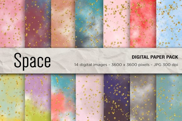 Space Galaxy Digital Papers Graphic Backgrounds By mertakdere19 - Image 1
