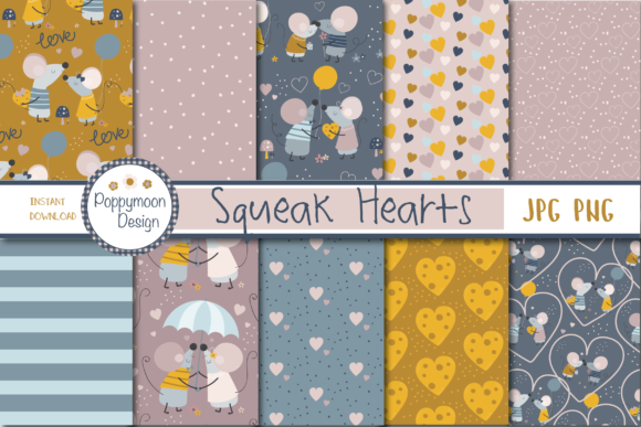 Print on Demand: Squeak Hearts Paper Graphic Patterns By poppymoondesign