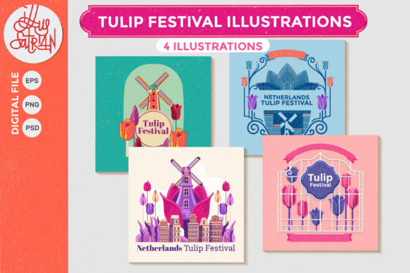 Print on Demand: Tulip Festival Illustrations Graphic Print Templates By illusatrian