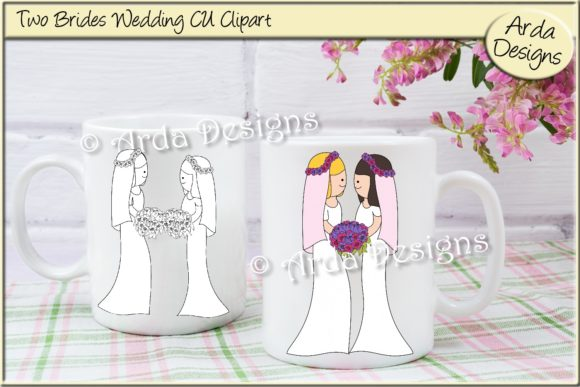Print on Demand: Two Brides Wedding Clipart Graphic Illustrations By Arda Designs