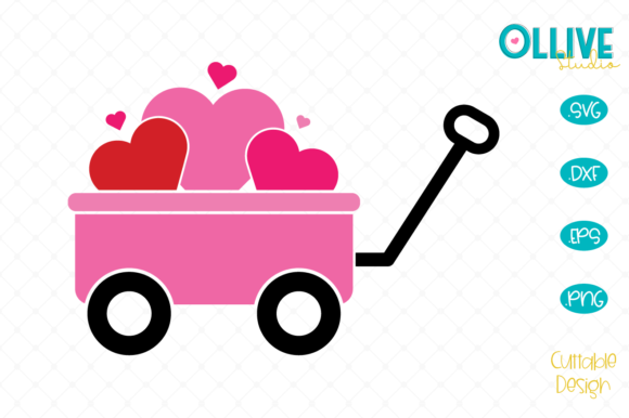 Download Free Valentine S Day Kids Wagon Graphic By Ollivestudio Creative for Cricut Explore, Silhouette and other cutting machines.