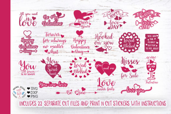 Print on Demand: Valentines Quotes Bundle Gráfico Ilustraciones Por GraphicHouseDesign