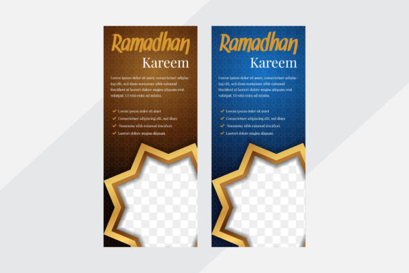 Print on Demand: Vertical Banner Islamic Patten Gold Blue Graphic Graphic Templates By noory.shopper
