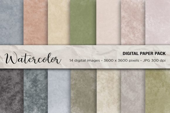 Watercolor Digital Paper Graphic Backgrounds By mertakdere19