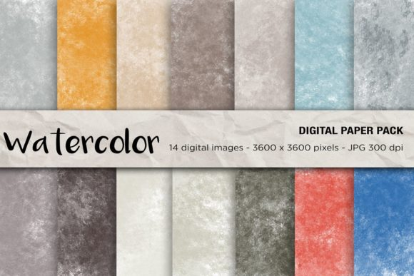 Watercolor Digital Papers Grafik Hintegründe von mertakdere19