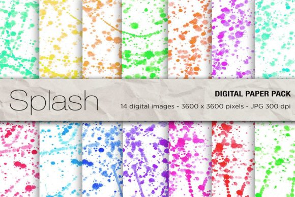 Watercolor Splash Digital Papers Graphic Backgrounds By mertakdere19 - Image 1