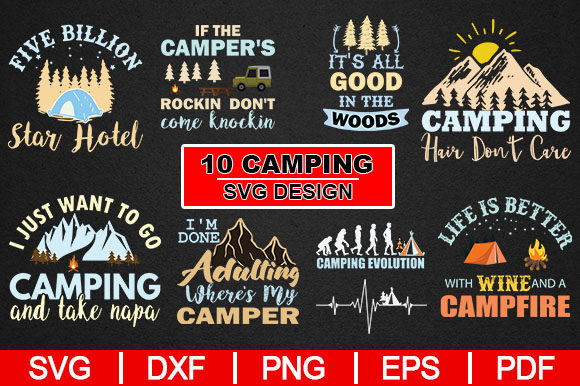 Print on Demand: 10 Camping Design Graphic Crafts By Artistcreativedesign - Image 1