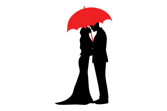 Couple Kissing Under Umbrella Valentine's Day Craft Cut File By Creative Fabrica Crafts - Image 1